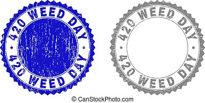 420 WEED DAY stamp seals with grunge texture in blue and grey colors isolated on white background. Vector rubber overlay of 420 WEED DAY text inside round rosette. Stamp seals with grunge styles.