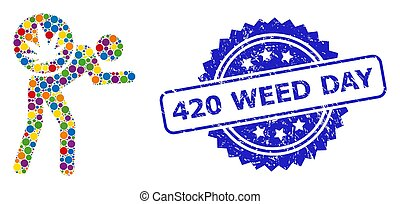 Vibrant collage cannabis courier, and 420 Weed Day unclean rosette stamp seal. Blue stamp has 420 Weed Day title inside rosette.