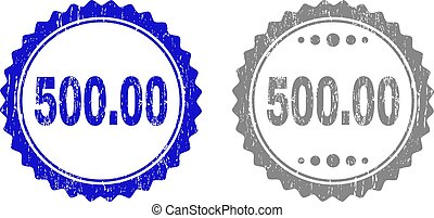 Textured 500.00 Scratched Stamps with Ribbon