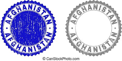 Textured AFGHANISTAN Scratched Stamp Seals with Ribbon