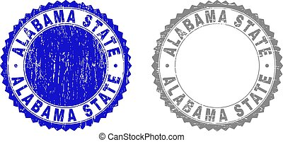 Textured ALABAMA STATE Scratched Stamp Seals with Ribbon