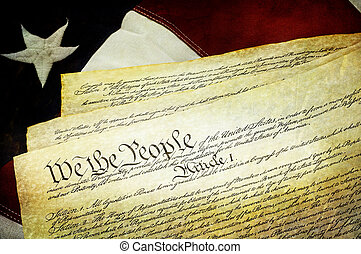 Textured American Constitution with US Flag - Textured...