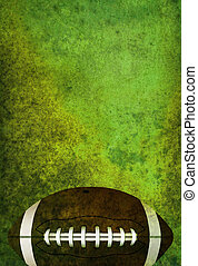 Textured American Football Field Background with Ball - A...