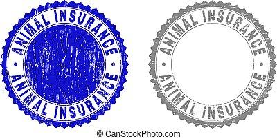 Textured ANIMAL INSURANCE Grunge Stamps