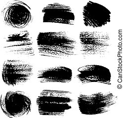 textured, aplopejías de pincel, conjunto, 2