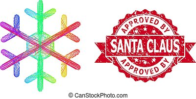 Textured Approved by Santa Claus Stamp Seal and LGBT Colored Linear Snowflake