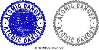 Textured ATOMIC DANGER Grunge Stamp Seals