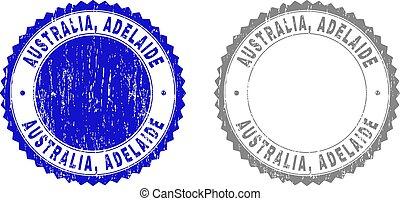 Textured AUSTRALIA, ADELAIDE Grunge Stamp Seals