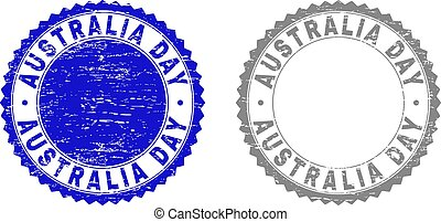 Textured AUSTRALIA DAY Scratched Stamp Seals