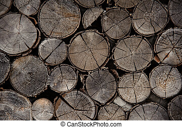 Textured background of the cracked firewood logs in cut