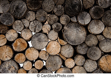 Textured background of the cracked grey and light brown firewood logs in cut