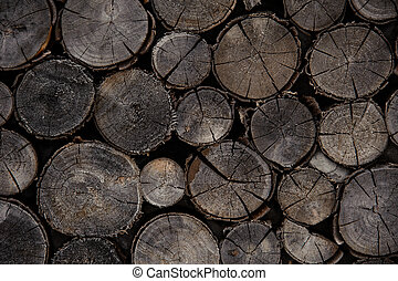 Textured background of the firewood logs in cut