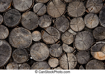 Textured background of the grey firewood logs in cut