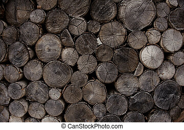 Textured background of the old cracked firewood logs in cut