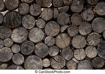 Textured background of the old firewood logs in cut