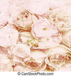 Textured background with beige roses and space for text