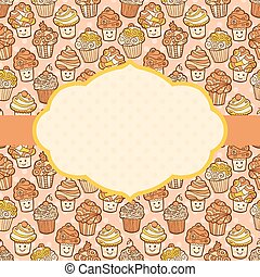 Textured background with cute doodle cupcakes.