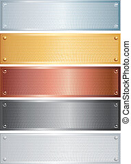 Textured Banners - Vector set of blank textured metal plates...