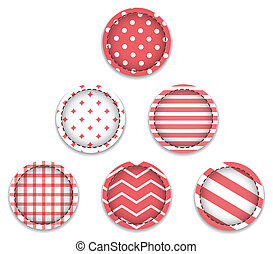 Red textured baubles. Christmas labels. Vector illustration