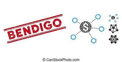 Textured Bendigo Line Seal with Collage Dollar Network Links Icon