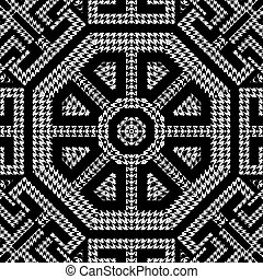 Textured black and white houndstooth seamless pattern. Vector ornamental background. Classic hounds tooth ornaments. Geometric design with greek key, meanders, octagons, zigzag. Repeat grunge texture