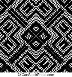 Textured black and white houndstooth seamless pattern. Vector ornamental background. Classic hounds tooth ornaments. Geometric design with greek key, meanders, rhombus, zigzag. Repeat grunge texture