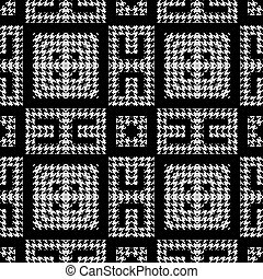 Textured black and white houndstooth seamless pattern. Vector ornamental background. Modern hounds tooth ornaments. Geometric design with greek key, meanders, squares, zigzag. Repeat grunge texture