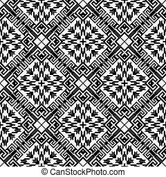 Textured black and white houndstooth seamless pattern. Vector ornamental background. Modern hounds tooth ornaments. Geometric design with greek key, meanders, rhombus, zigzag. Repeat grunge texture