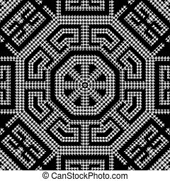 Textured black and white houndstooth seamless pattern. Vector ornamental background. Modern hounds tooth ornaments. Geometric design with greek key, meanders, octagons, zigzag. Repeat grunge texture