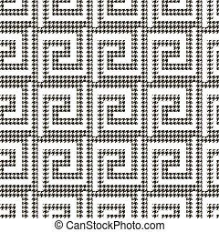 Textured black and white houndstooth seamless pattern. Vector ornamental greek background. Modern hounds tooth ornaments. Geometric design with greek key meander, labyrinth maze. Repeat ornate texture