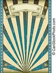 textured, bleu, retro, affiche