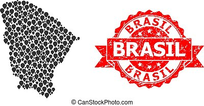 Textured Brasil Seal and Marker Mosaic Map of Ceara State - ...