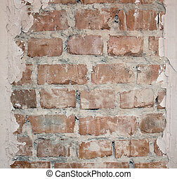 Textured brick wall with plaster on wall background