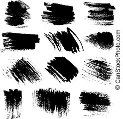 Textured brush strokes set1 - Textured brush strokes drawn a...