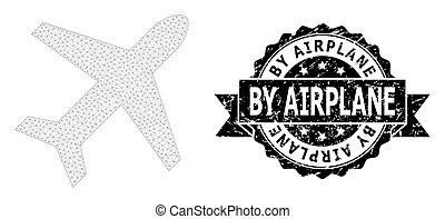 Textured By Airplane Ribbon Stamp and Mesh 2D Airplane