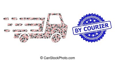 Textured By Courier Watermark and Recursion Delivery Car Chassi Icon Collage