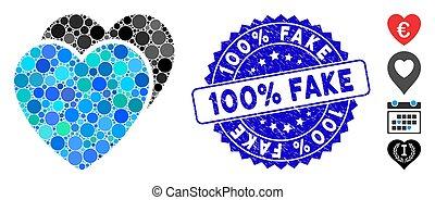 textured, cœurs, 100%, icône, collage, timbre, faux, amour