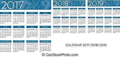 textured, calendário, 2017-2018-2019, vetorial