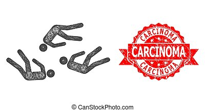 Network dead people icon, and Carcinoma unclean ribbon stamp seal. Red stamp seal contains Carcinoma title inside ribbon.Geometric hatched frame 2D network based on dead people icon,