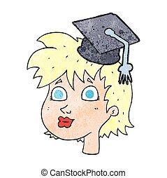 textured, caricatura, graduado, mujer