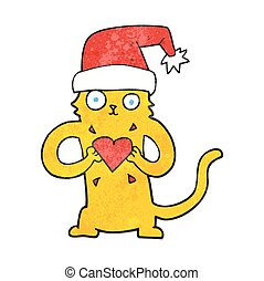 textured cartoon cat loving christmas