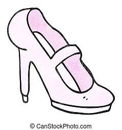textured cartoon high heeled shoe