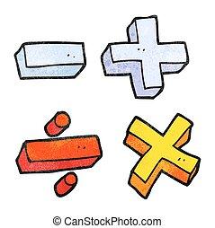 textured cartoon math symbols