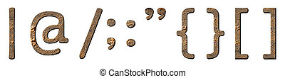 Textured characters set (punctuation marks) on white...