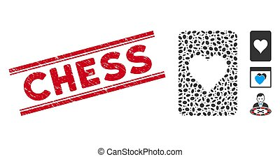 Textured Chess Line Seal with Collage Hearts Gambling Card Icon