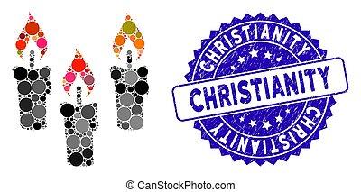 textured, christianisme, icône, timbre, mosaïque, bougies