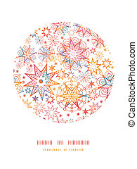 Textured Christmas Stars Circle Decor Pattern Background -...