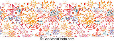 Textured Christmas Stars Horizontal Seamless Pattern Border...