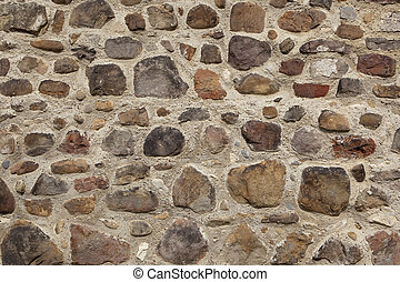 textured cobbled wall background with small stones and cement