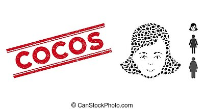 Textured Cocos Line Stamp with Collage Lady Face Icon